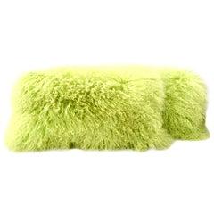 21st Century Pair of Tibetan Curly Fur Lumbar Pillows