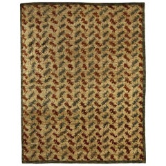 21st Century Palette Handmade Wool Rug in Beige, Brown and Blue