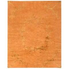 21st Century Paolo Moschino Design Salmon and Golden Handmade Wool Rug