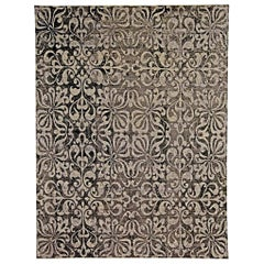 21st Century Passion Flowers Handmade Wool Rug in Black and Silver Gray