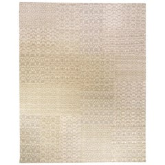 21st Century Patchwork-Like MM Gray Handmade Wool Rug