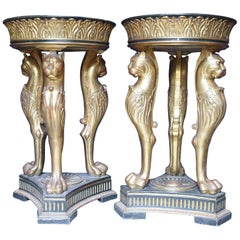 21st Century Pedestals Cherrywood Glided Green Alps Marble Empire Style, 2013s