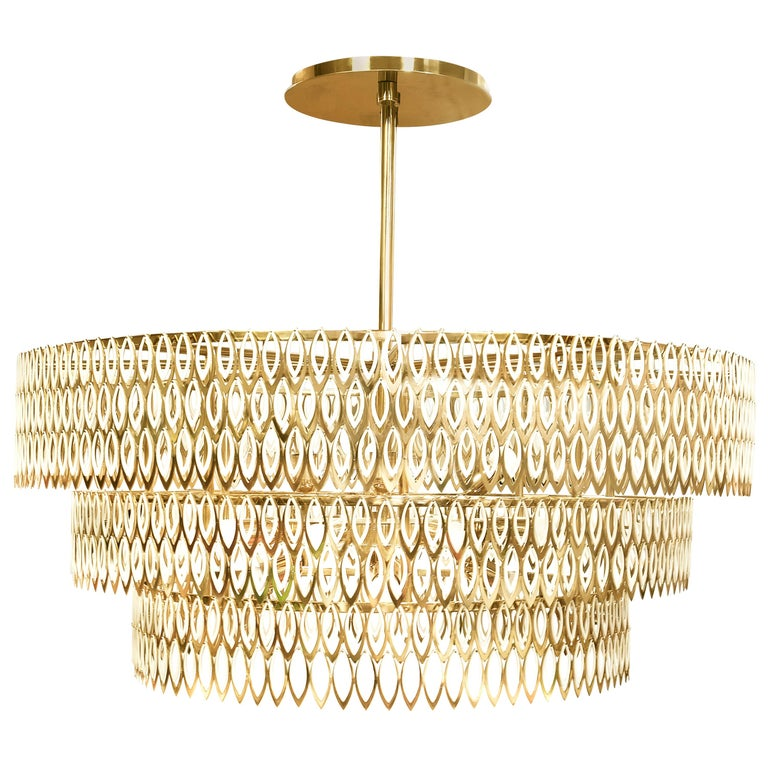 21st Century Petal Chandelier Stainless Steel For Sale