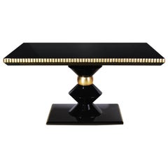 21st Century Petit Cortez Dining Table Lacquered Wood Gold Leaf Details