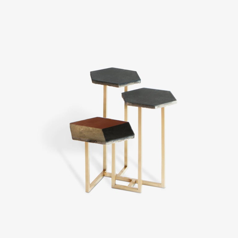 Concrete 21st Century Petit Table de Milàn Side Table with Brass Base and Black Tiles For Sale
