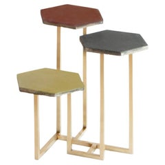 21st Century Petit Table de Milàn Side Table with Brass Base and Colored Tiles
