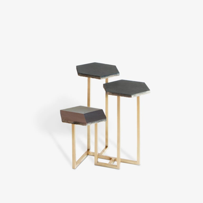 Italian 21st Century Petit Table de Milàn Side Table with Brass Base and Black Tiles For Sale