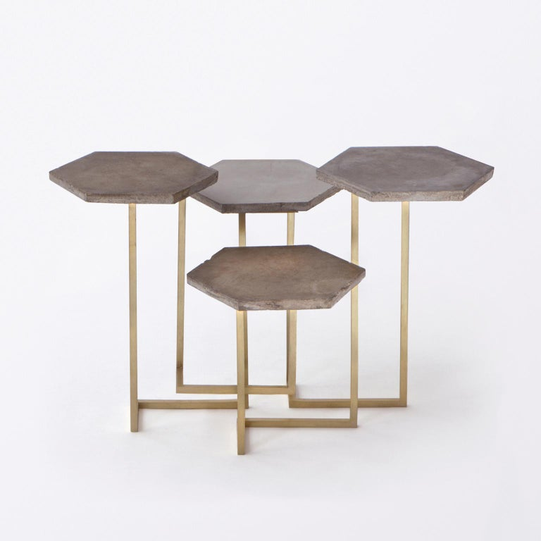 This modular tables are made with hexagonal flooring tiles from aristocratic Milanese residence and base in opaque brass. All the pieces are handmade by small-scale fabricators and show a dedication to both experimentation and the honesty and