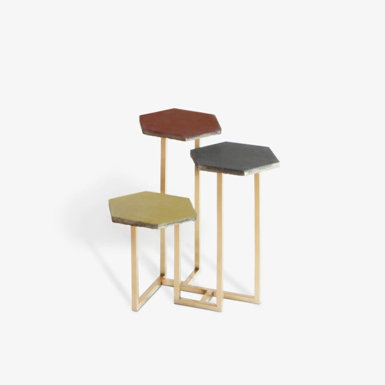 21st Century Petit Table de Milàn Side Table with Brass Base and Black Tiles For Sale 1