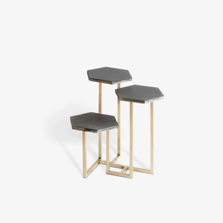 Italian 21st Century Petit Table de Milàn Side Table with Brass Base For Sale