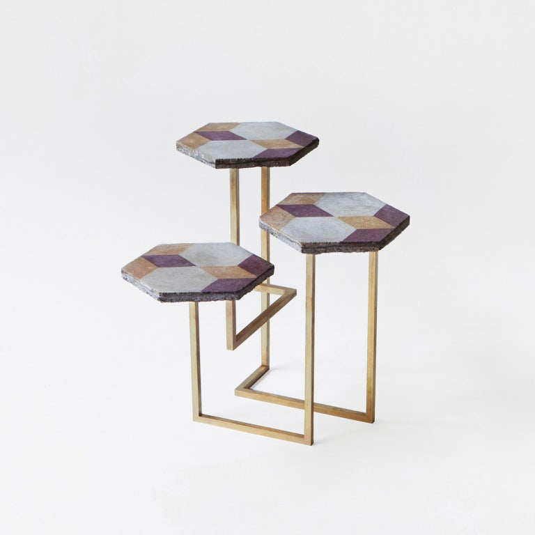 Contemporary 21st Century Petit Table de Milàn Side Table with Brass Base For Sale