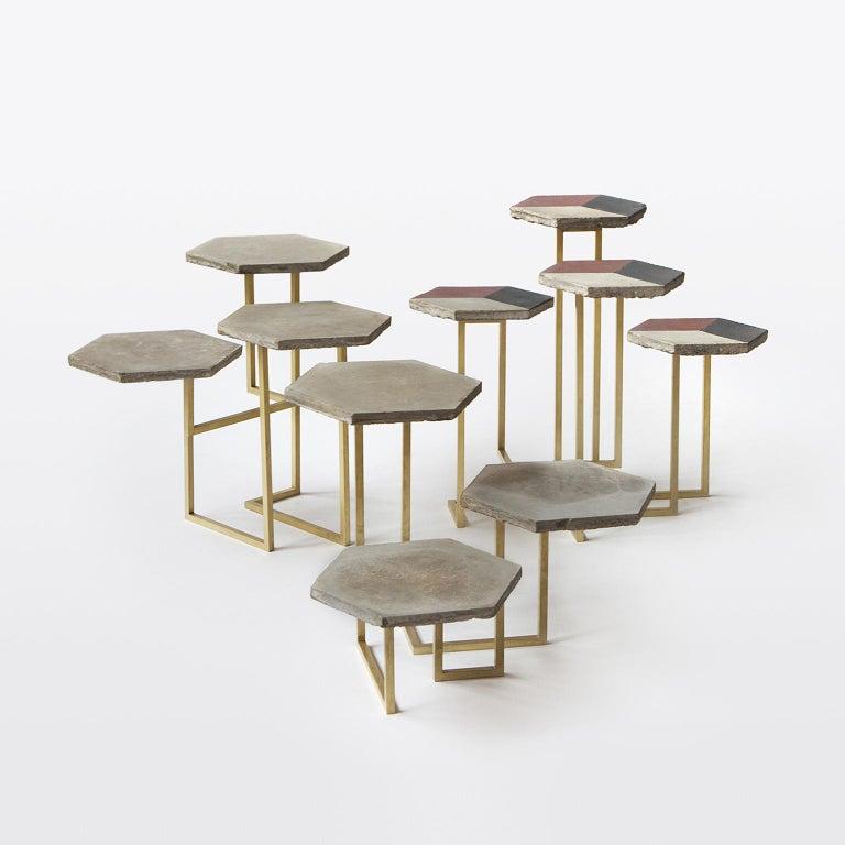 Concrete 21st Century Petit Table de Milàn Side Table with Brass Base For Sale