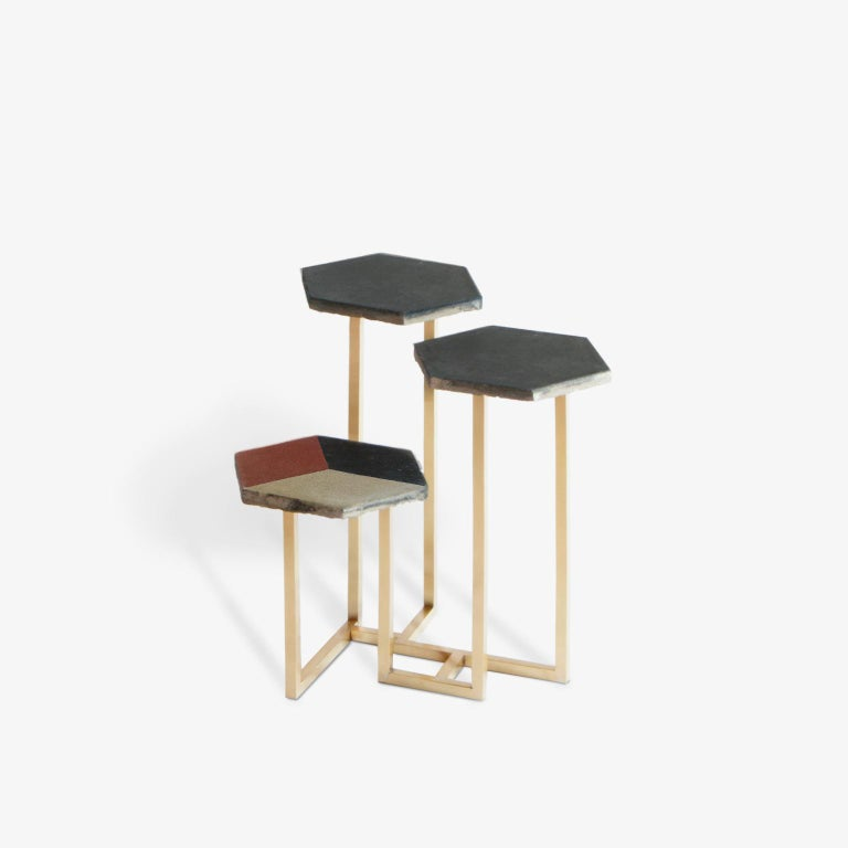 21st Century Petit Table de Milàn Side Table with Brass Base and Black Tiles In New Condition For Sale In Milan, IT