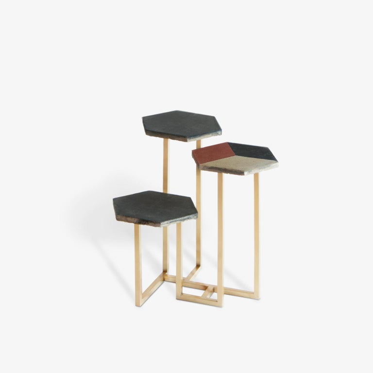 Contemporary 21st Century Petit Table de Milàn Side Table with Brass Base and Black Tiles For Sale
