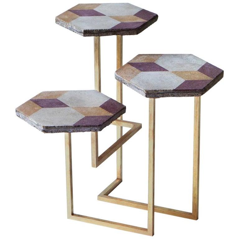 21st Century Petit Table de Milàn Side Table with Brass Base For Sale