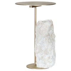 21st Century Pico Side Table M Grey Coral Stone Oxidized Brass