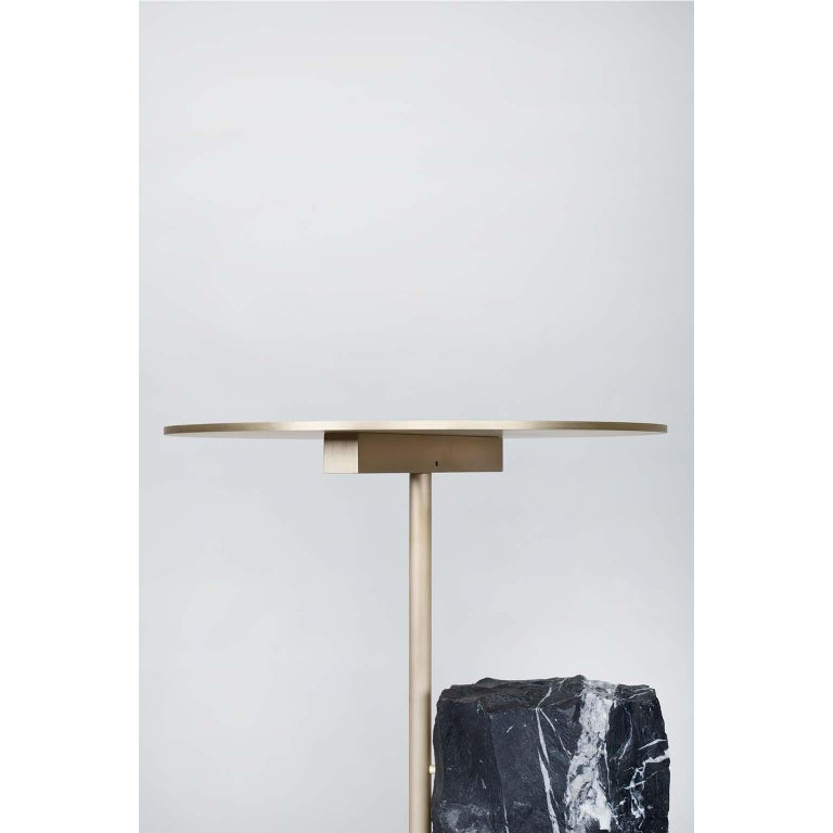 Modern 21st Century Pico Side Table S Nero Marquina Oxidized Brass For Sale