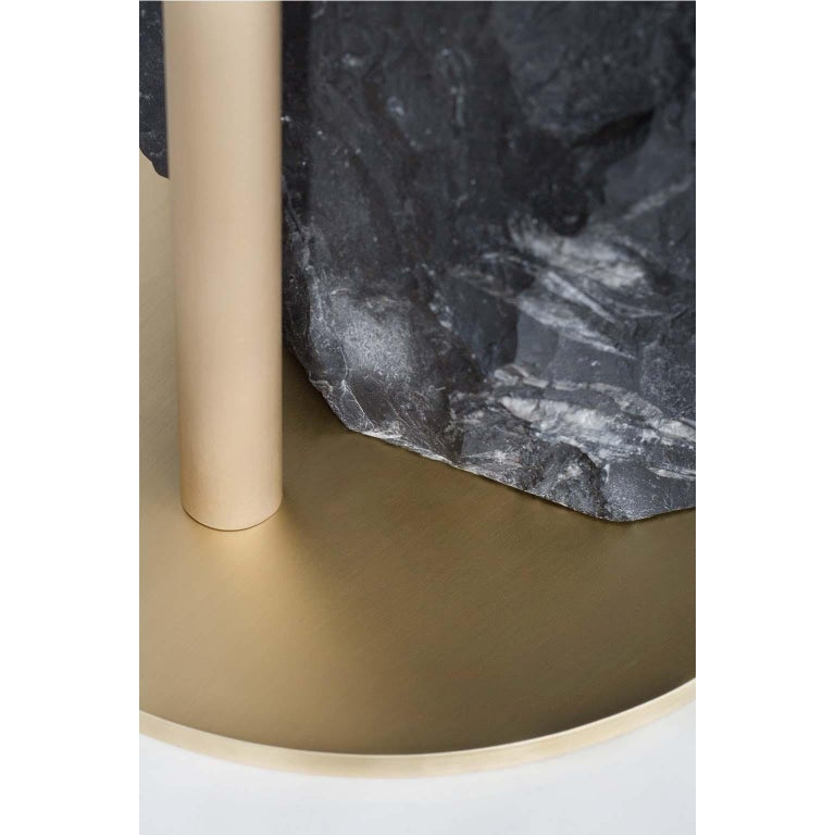 21st Century Pico Side Table S Nero Marquina Oxidized Brass In New Condition For Sale In Cartaxo, PT