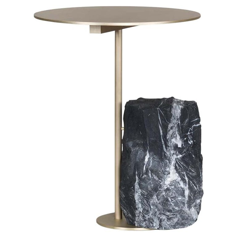 21st Century Pico Side Table S Nero Marquina Oxidized Brass For Sale