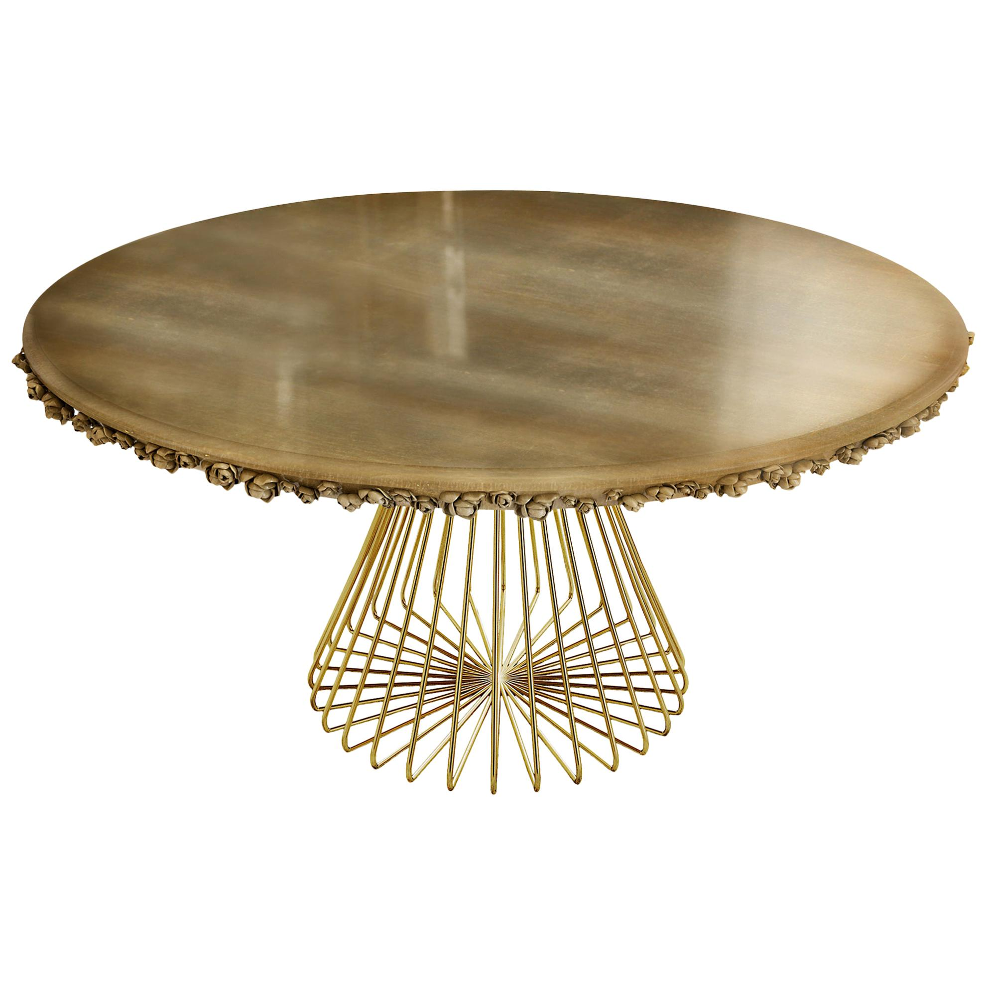 21st Century Pilar Dining Table Hand-Sculpted Edge Gold Plated Brass Silver Leaf