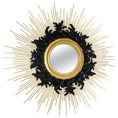 21st Century Pilar Mirror Lacquered Wood Gold Leaf Polished Brass