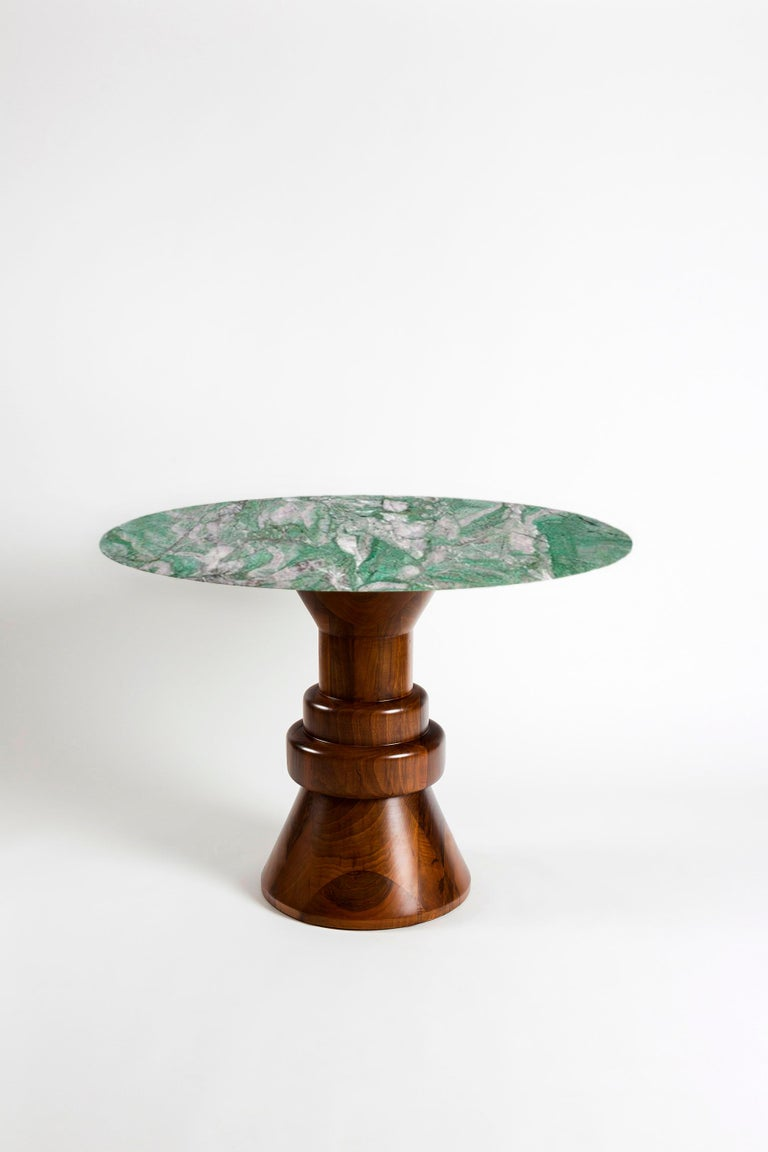 21st Century Pink Marble Round Dining Table with Sculptural Green Wooden Base For Sale 3