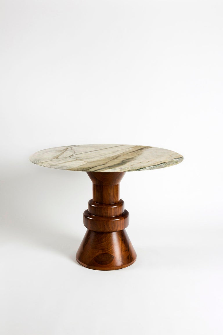 21st Century Pink Marble Round Dining Table with Sculptural Green Wooden Base For Sale 4