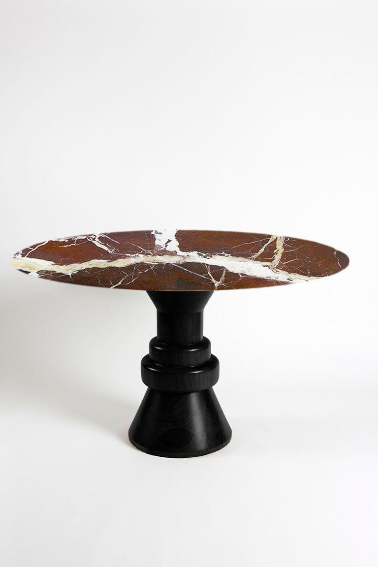 21st Century Pink Marble Round Dining Table with Sculptural Green Wooden Base For Sale 7