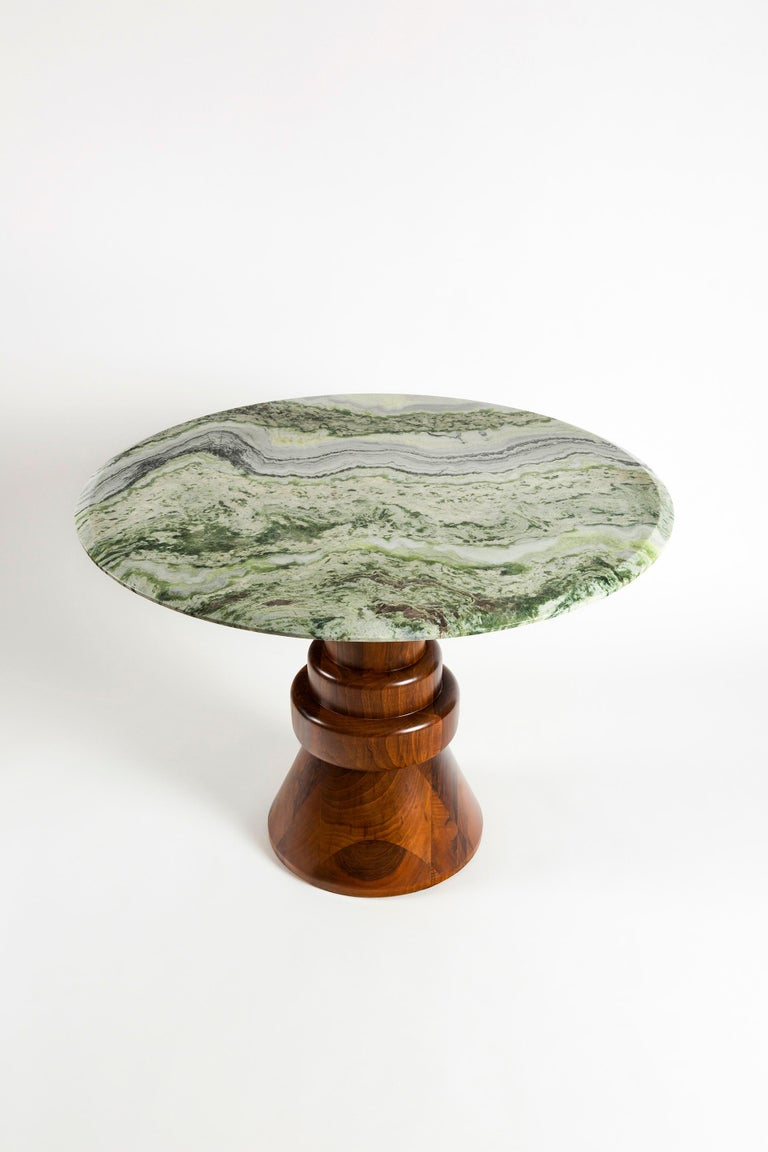 Arts and Crafts 21st Century Pink Marble Round Dining Table with Sculptural Green Wooden Base For Sale