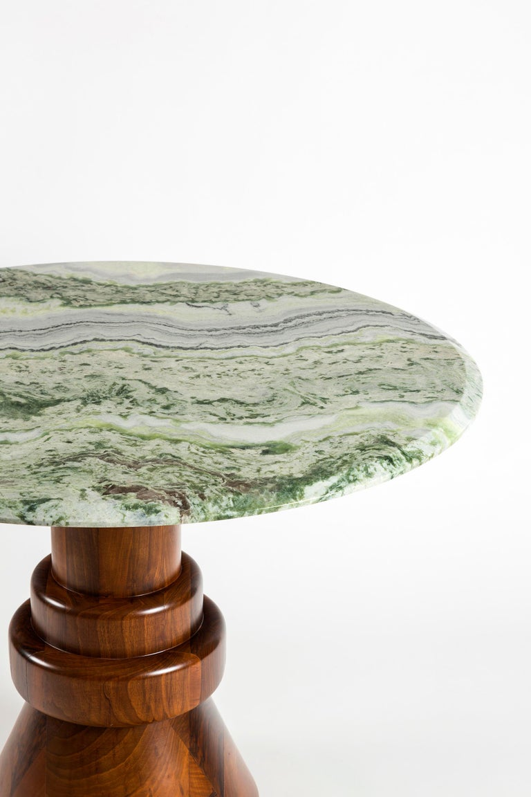 Woodwork 21st Century Pink Marble Round Dining Table with Sculptural Green Wooden Base For Sale