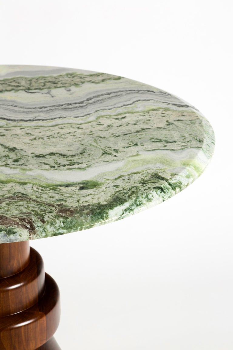 Contemporary 21st Century Pink Marble Round Dining Table with Sculptural Green Wooden Base For Sale