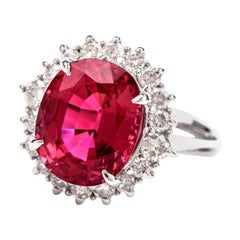 21st Century Pink Tourmaline and Diamond Platinum Halo Ring