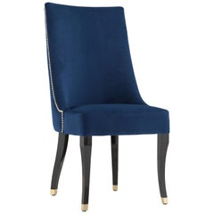 21st Century Plathea Chair Black Beech Blue Velvet Gold Tacks Brass Leg End Caps