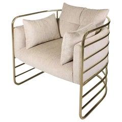 21st Century Polished Brass Eero Armchair Velvet