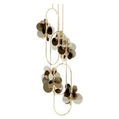21st Century Polished Brass Hera Suspension Lamp