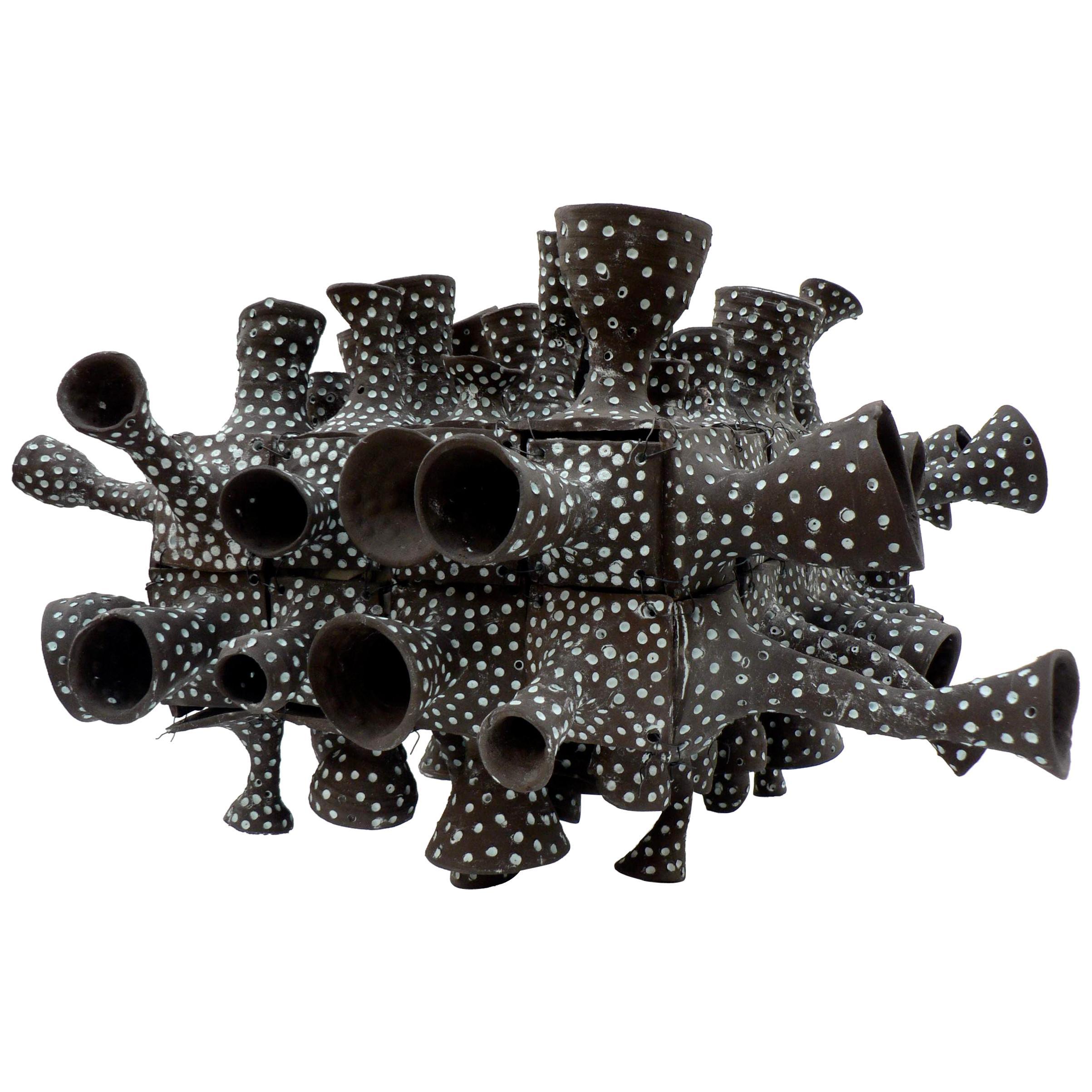 "21st Century Porcelain Sculpture ""Peeping Tom"" by Ursula Commandeur Black Clay"