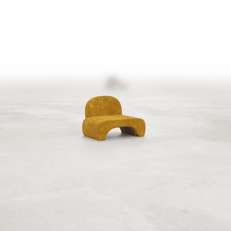 French 21st Century Post-Modernist Upholstered U Chair and Stool Set by Studio SORS For Sale