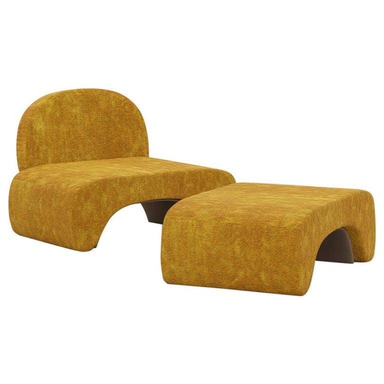 21st Century Post-Modernist Upholstered U Chair and Stool Set by Studio SORS For Sale