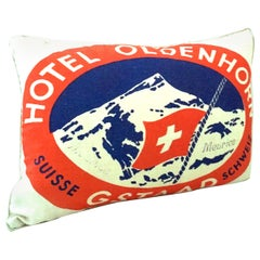 21st Century Printed Belgium Linen & Down Filled Pillow 'Hotel Splendido'