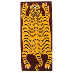 21st Century Purple-Red and Yellow Tibetan Tiger Prayer Rug Hand knotted, 2020