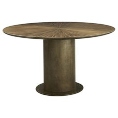 21st Century Radius Dining Table Round Liquid Metal Brass Effect Shimmering Top