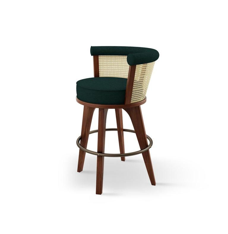 Portuguese 21st Century Rattan George Bar Chair Walnut Wood Linen For Sale