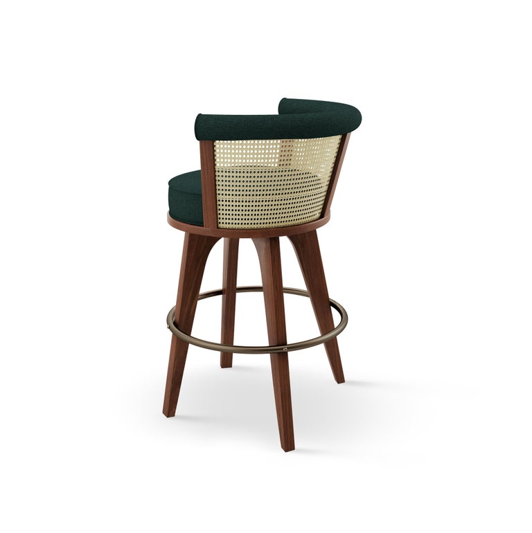 21st Century Rattan George Bar Chair Walnut Wood Linen In New Condition For Sale In RIO TINTO, PT
