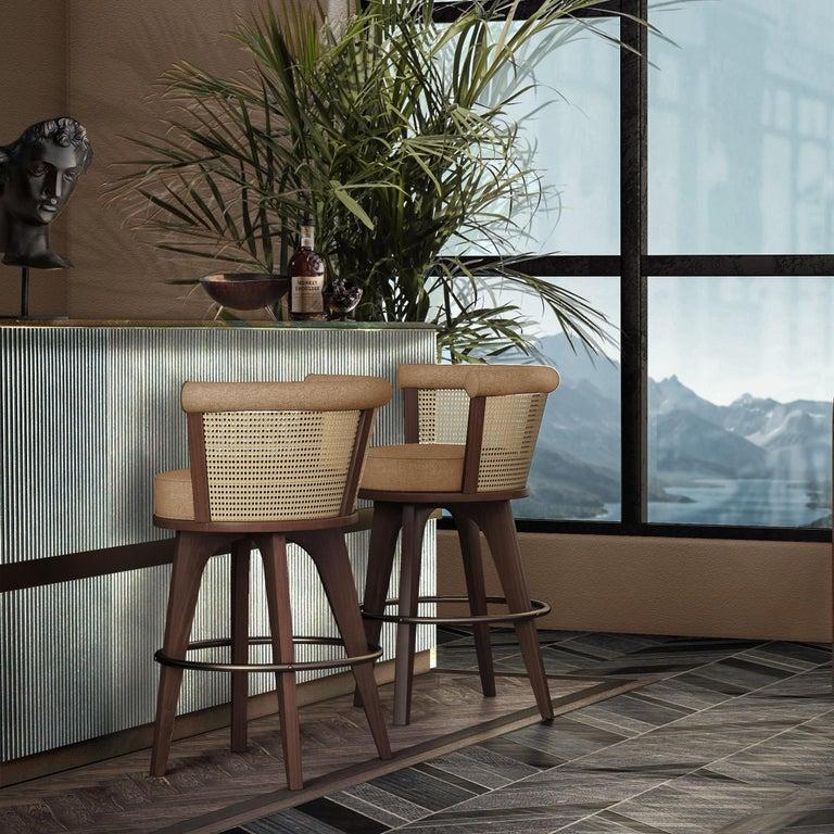 21st Century Rattan George Bar Chair Walnut Wood Linen For Sale 1