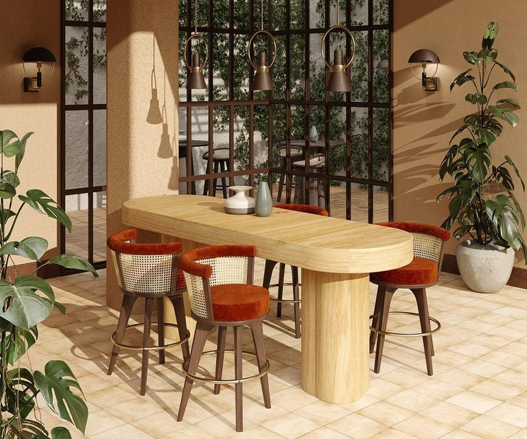 21st Century Rattan George Bar Chair Walnut Wood Linen For Sale 2