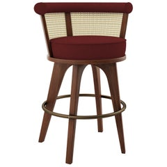 21st Century Rattan George Bar Chair Walnut Wood Linen