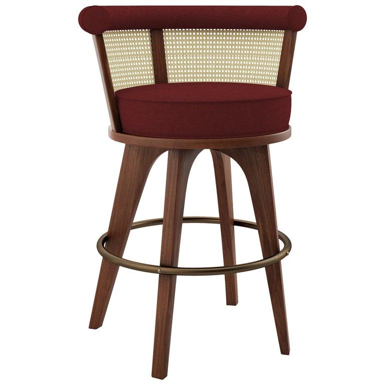 21st Century Rattan George Bar Chair Walnut Wood Linen For Sale