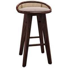 21st Century Rattan Walnut Wood Brummel Bar Stool Cotton Velvet