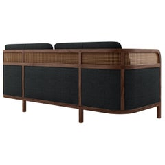 21st Century Rattan Walnut Wood Crockford Sofa Linen