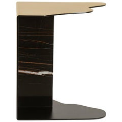 21st Century Raw Side Table Brushed Brass Sahara Noir Marble Black Lacquered